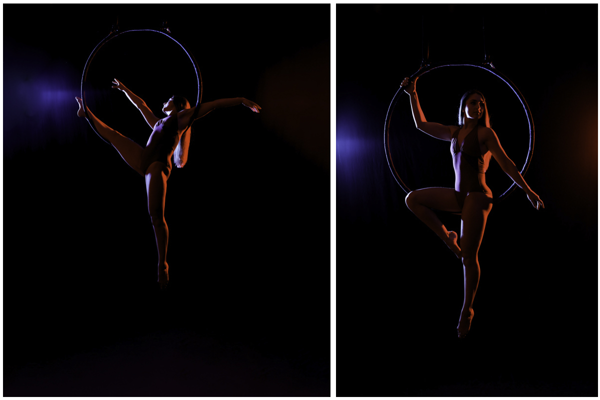 Aerial Hoop Photography with red and blue lighting