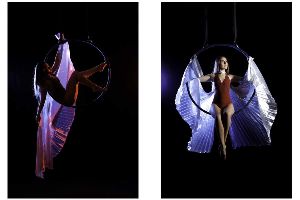 Aerial Hoop Photography with red and blue lighting with flowing material