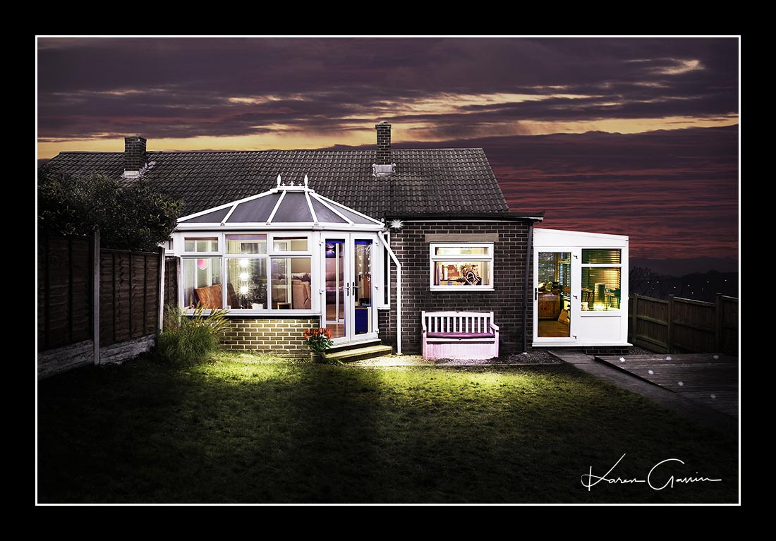 Unique photography artwork of a bungalow house with a conservatory