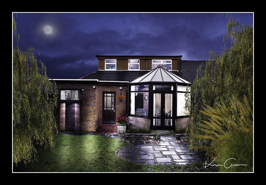 Unique photography artwork of a dormer bungalow house with a conservatory