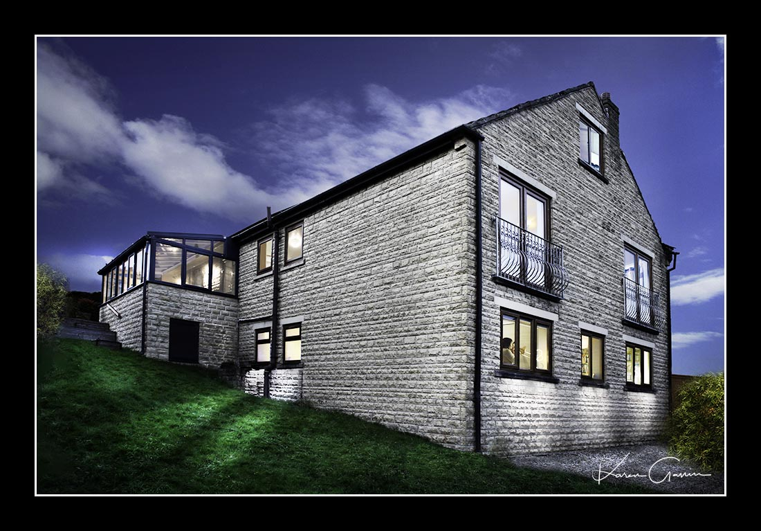 Fine art style photography artwork of a 3 storey house
